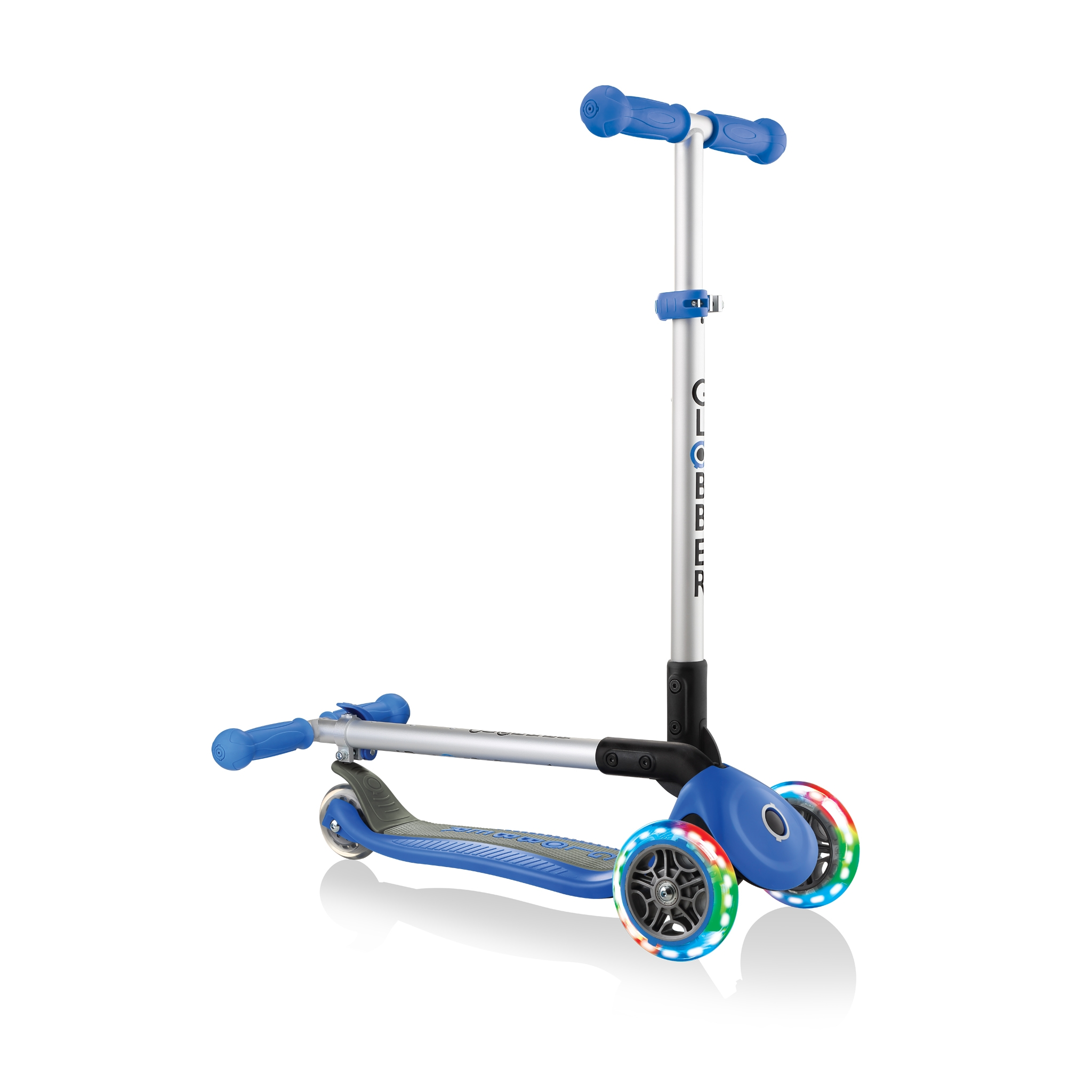 PRIMO-FOLDABLE-LIGHTS-3-wheel-fold-up-scooter-for-kids-navy-blue