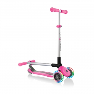 PRIMO-FOLDABLE-LIGHTS-3-wheel-fold-up-scooter-for-kids-deep-pink