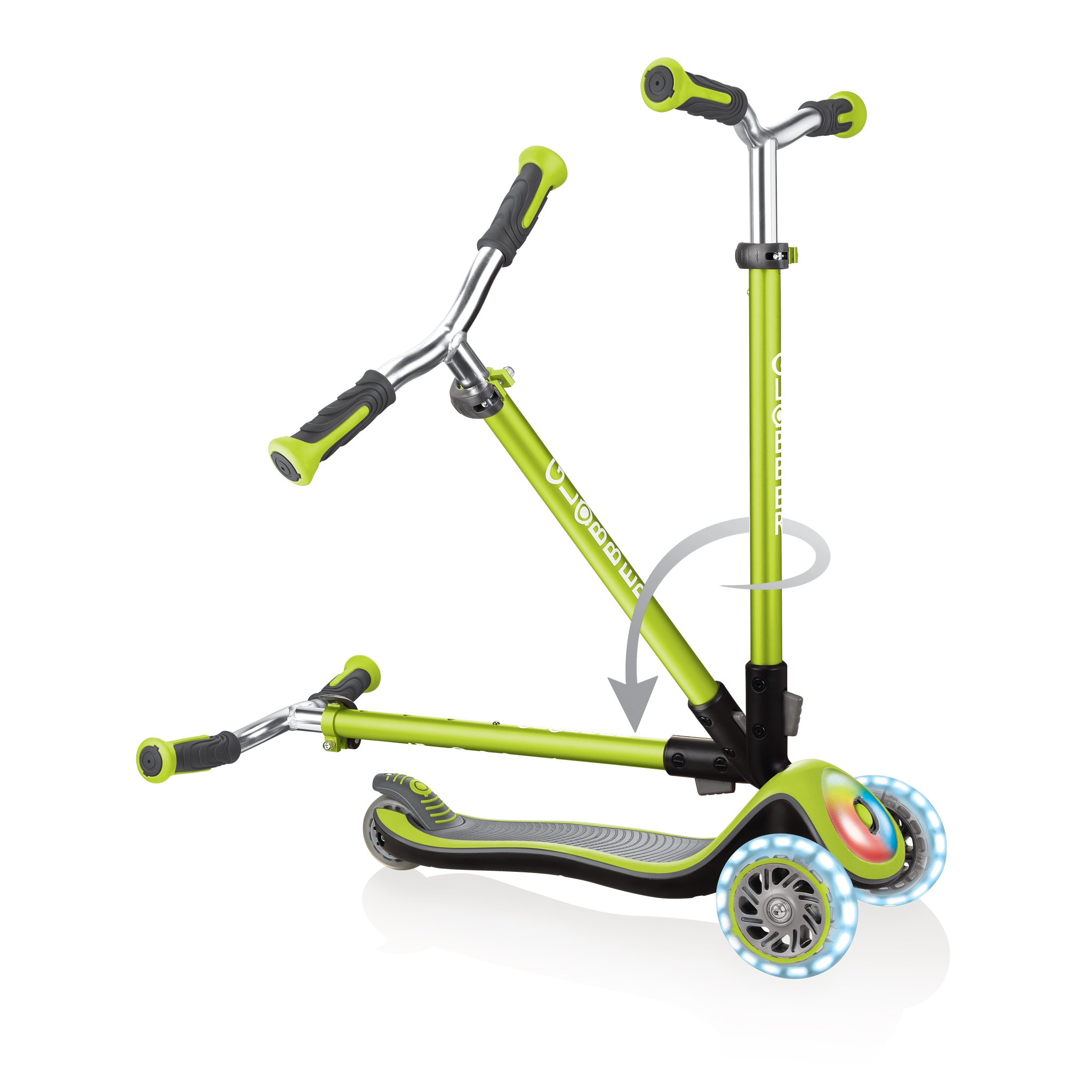 Globber-ELITE-PRIME-best-3-wheel-scooter-for-kids-with-patented-folding-system-lime-green