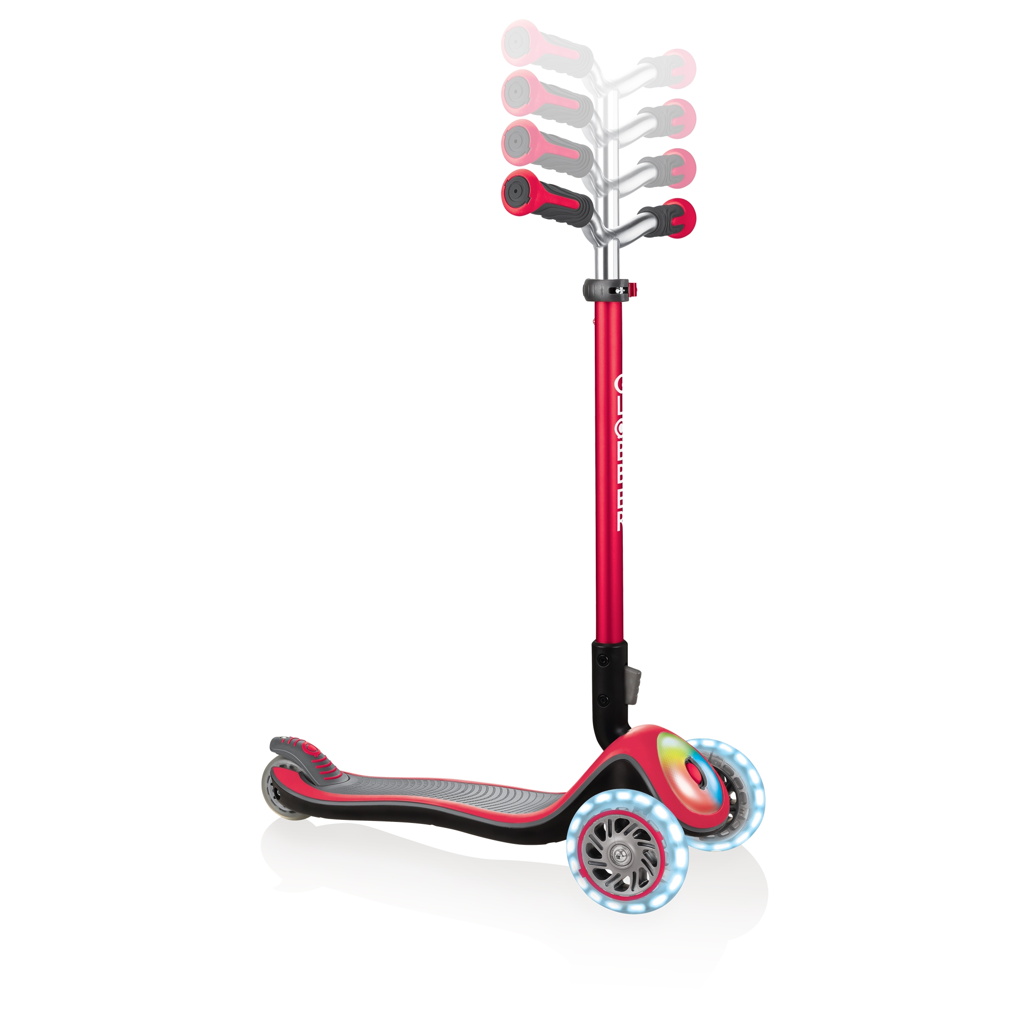 Globber-ELITE-PRIME-best-3-wheel-foldable-scooter-for-kids-with-adjustable-t-bar-new-red
