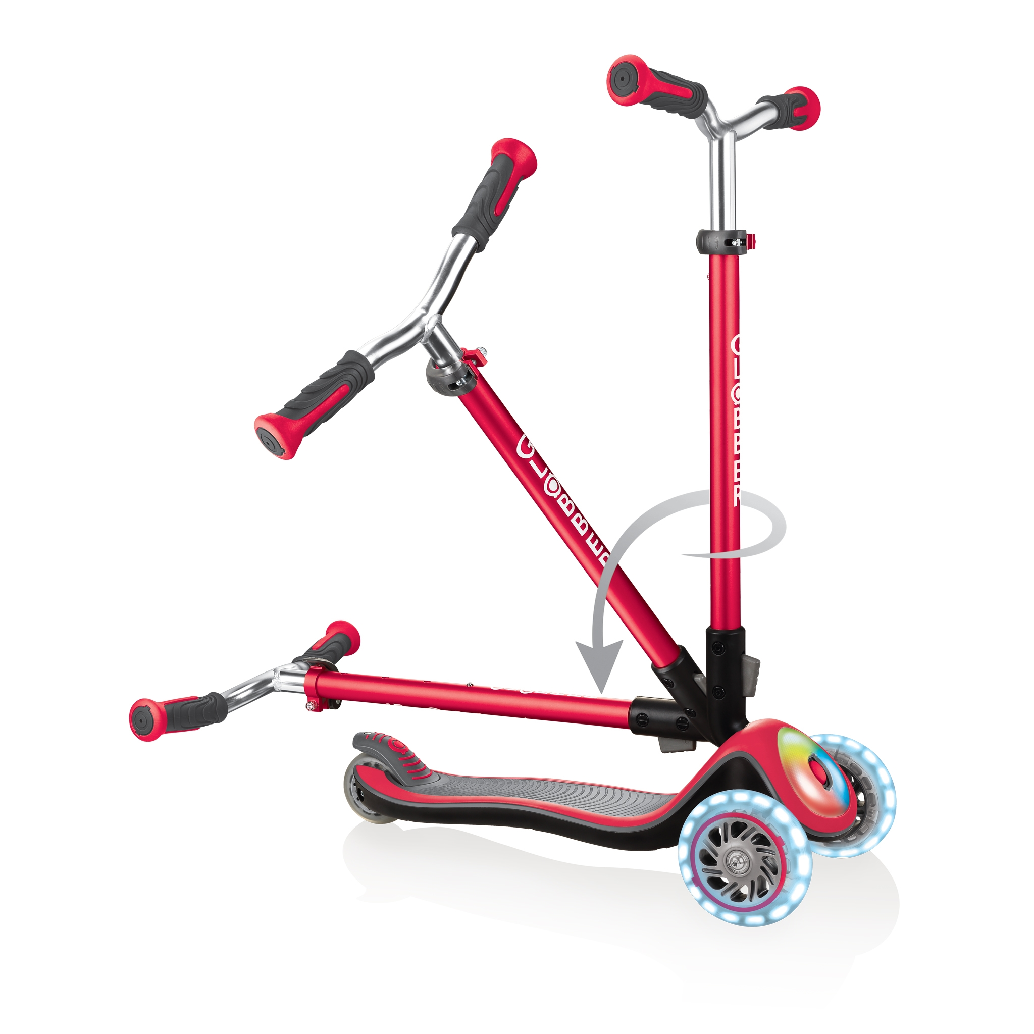 Globber-ELITE-PRIME-best-3-wheel-scooter-for-kids-with-patented-folding-system-new-red