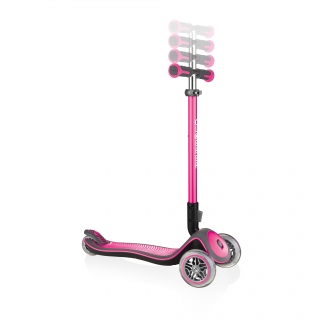 Globber-ELITE-DELUXE-3-wheel-adjustable-scooter-for-kids-with-anodized-T-bar-deep-pink