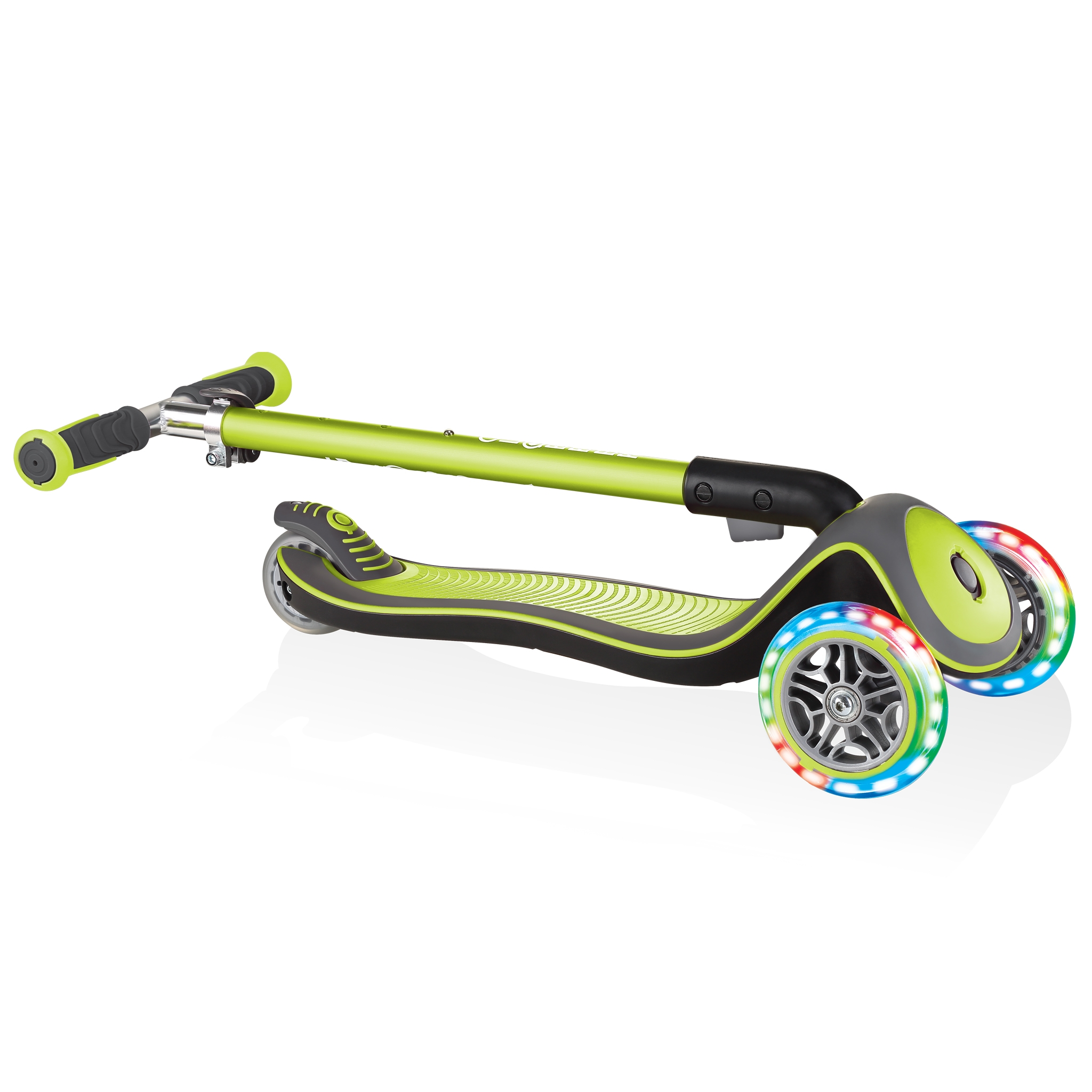 Globber-ELITE-DELUXE-LIGHTS-3-wheel-foldable-scooter-for-kids-with-light-up-scooter-wheels-lime-green