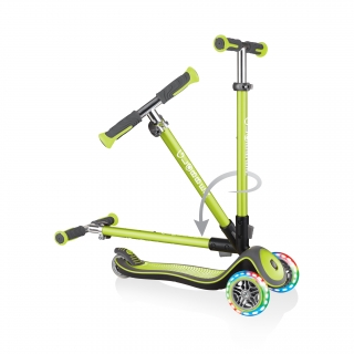 Globber-ELITE-DELUXE-LIGHTS-3-wheel-light-up-scooter-for-kids-fold-up-scooter-lime-green