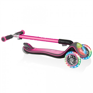 Globber-ELITE-DELUXE-FLASH-LIGHTS-3-wheel-foldable-scooter-for-kids-with-light-up-deck-module-and-wheels-deep-pink