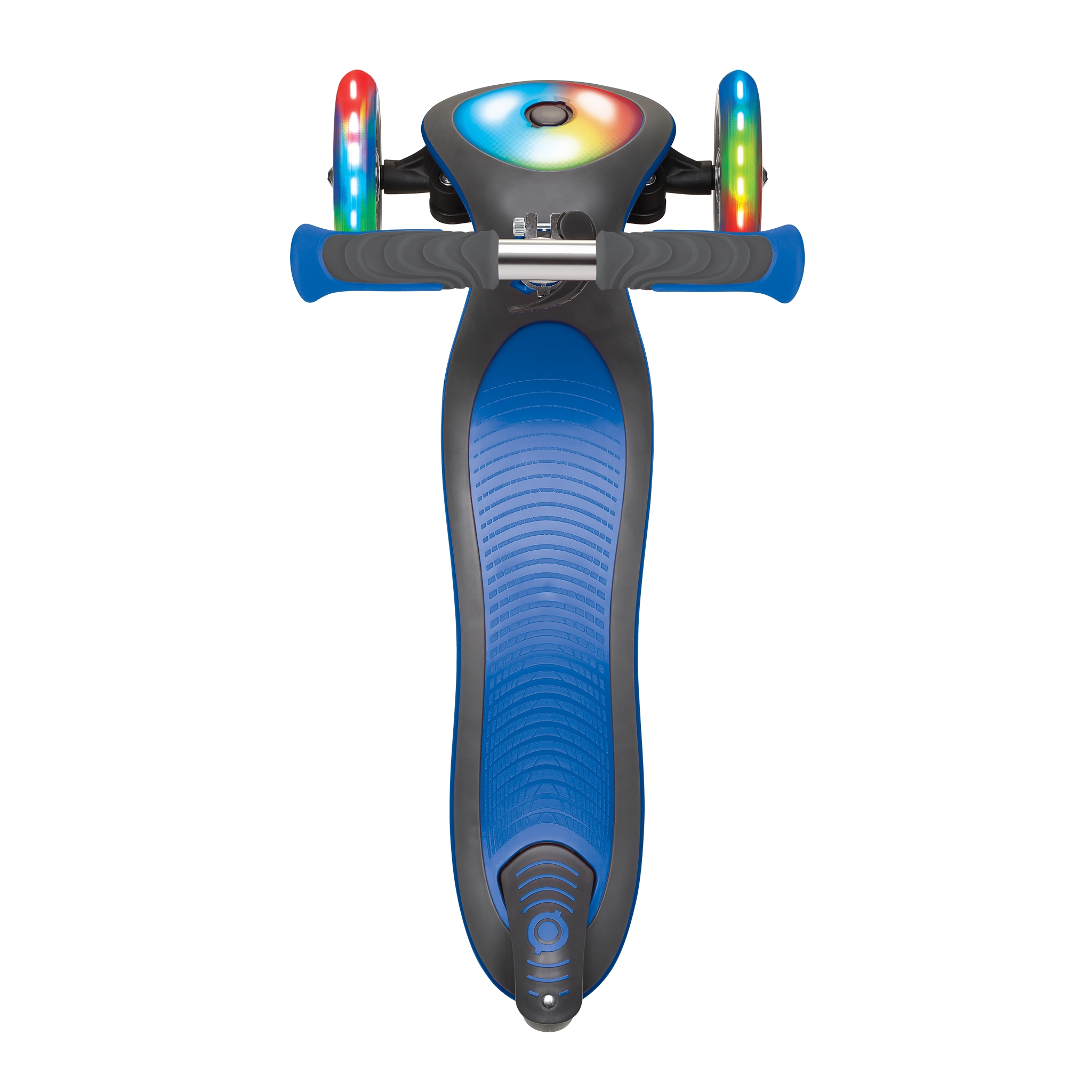 Globber-ELITE-DELUXE-FLASH-LIGHTS-3-wheel-foldable-scooter-with-extra-wide-scooter-deck-navy-blue 3