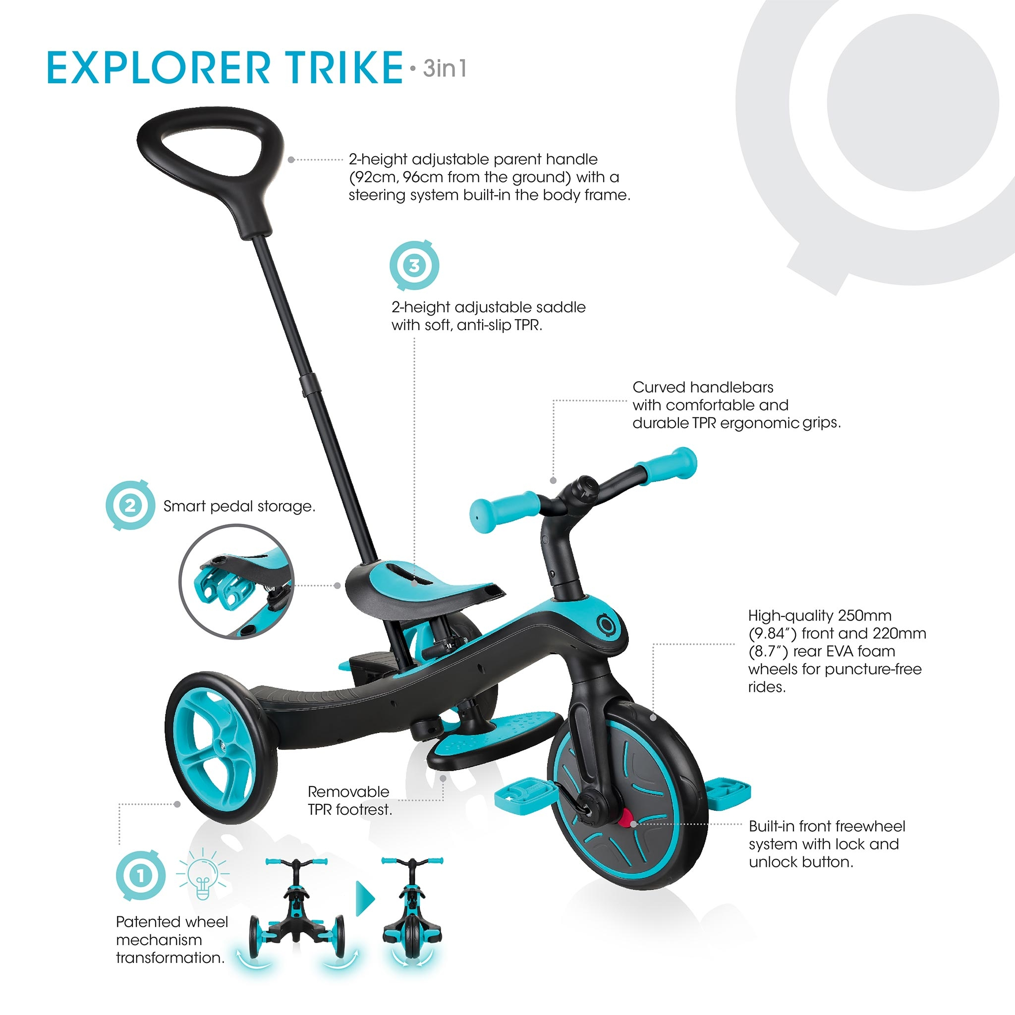 All-in-one baby tricycle for toddlers aged 18 months+ - Globber EXPLORER TRIKE 3in1 3