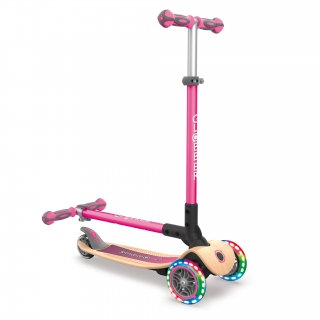 PRIMO-FOLDABLE-WOOD-LIGHTS-3-wheel-foldable-scooter-with-7-ply-wooden-scooter-deck-and-battery-free-light-up-wheels_deep-pink