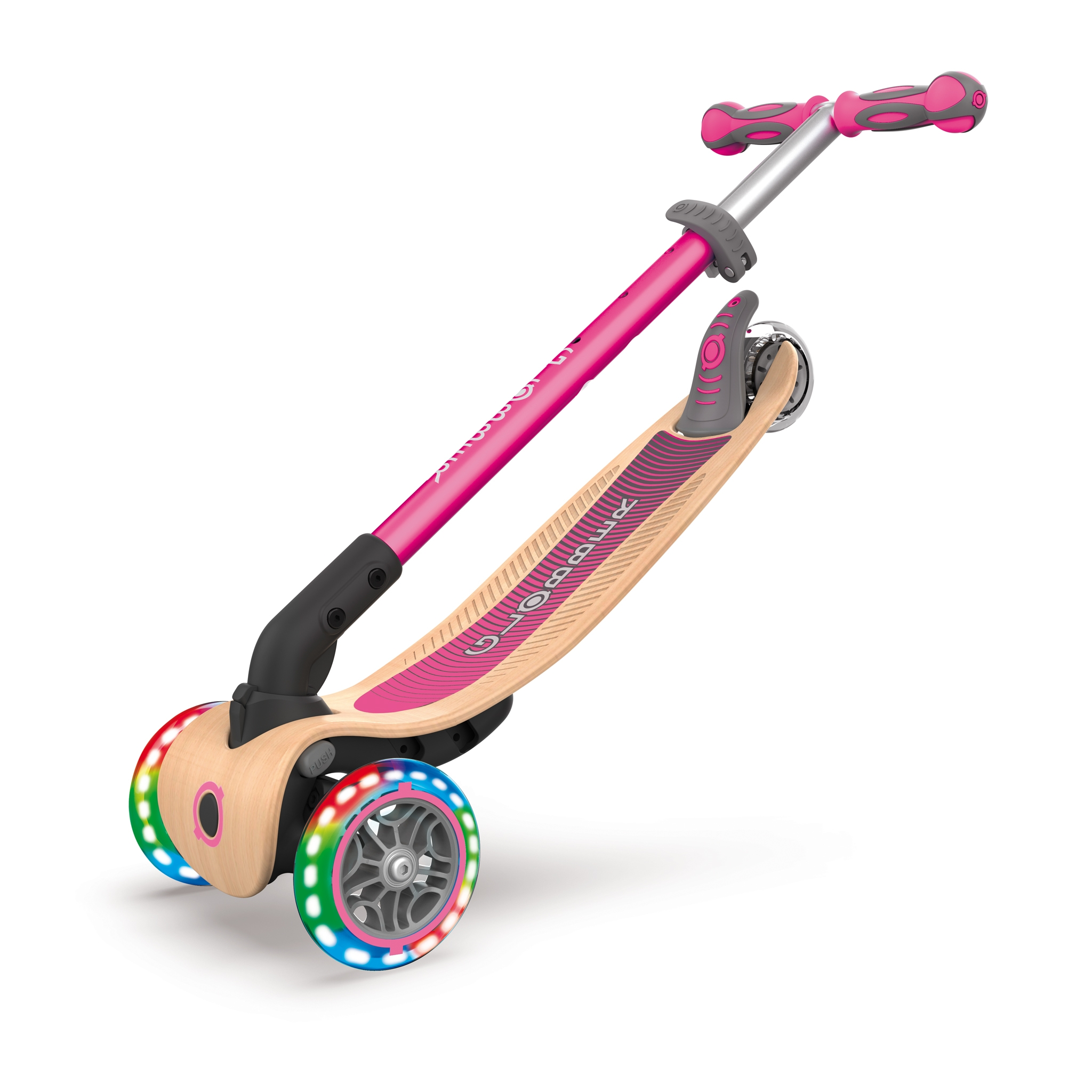 PRIMO-FOLDABLE-WOOD-LIGHTS-3-wheel-foldable-light-up-scooter-with-7-ply-wooden-scooter-deck-trolley-mode-compatible_deep-pink
