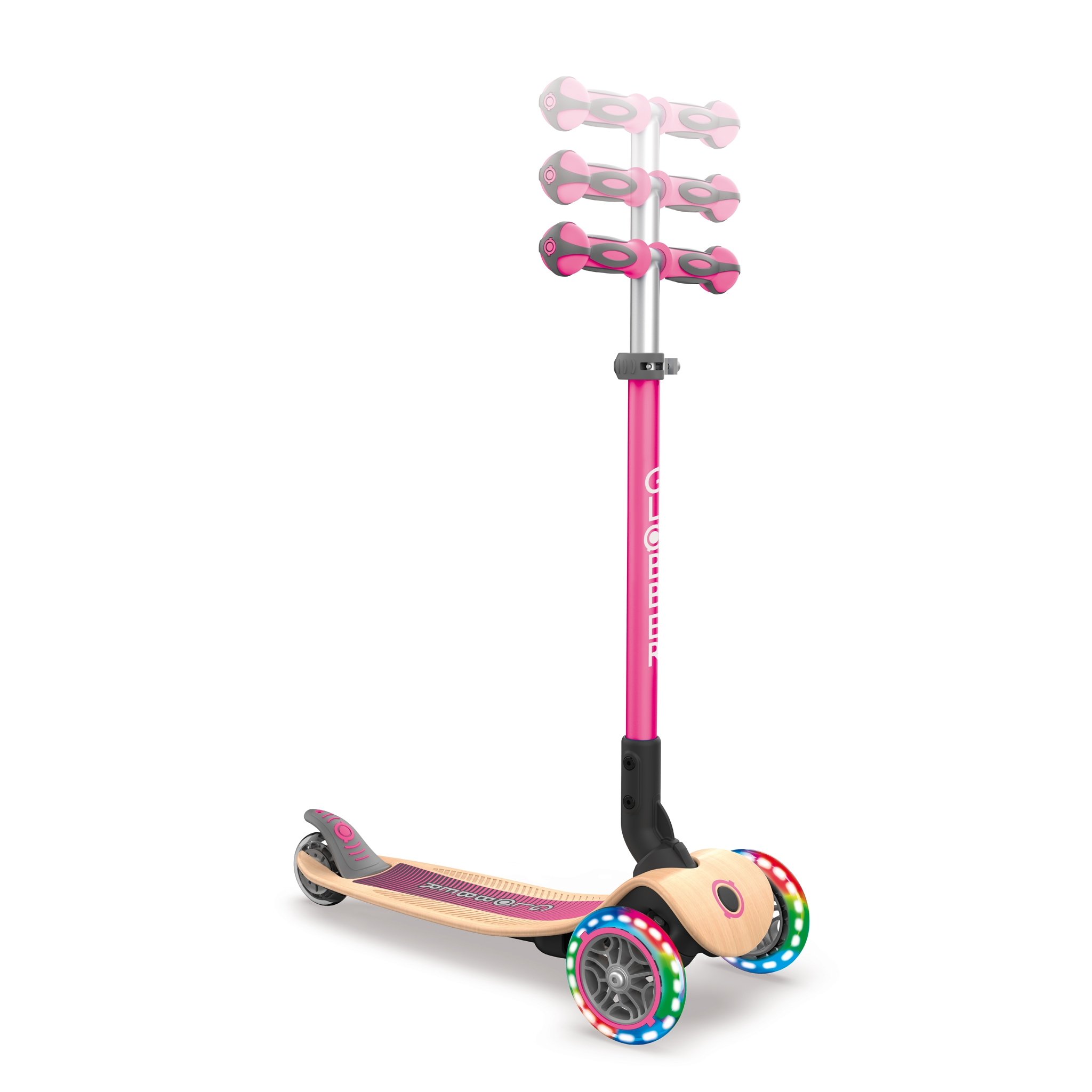 PRIMO-FOLDABLE-WOOD-LIGHTS-3-wheel-foldable-light-up-scooter-with-wooden-scooter-deck-and-3-height-adjustable-T-bar_deep-pink