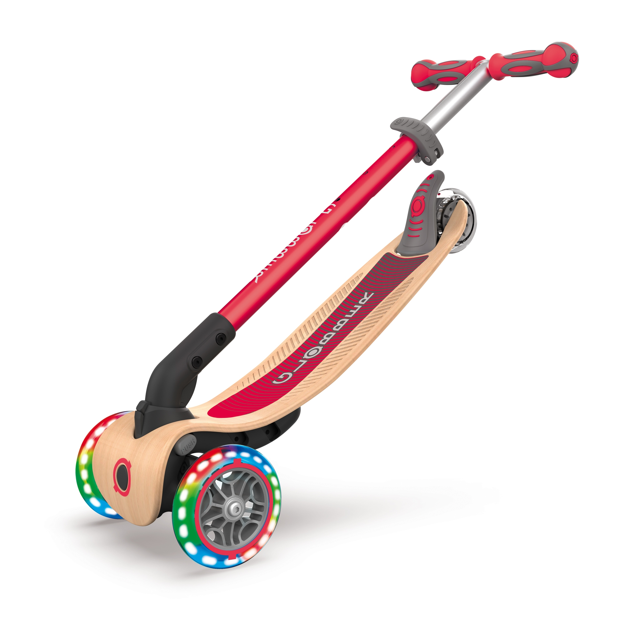 PRIMO-FOLDABLE-WOOD-LIGHTS-3-wheel-foldable-light-up-scooter-with-7-ply-wooden-scooter-deck-trolley-mode-compatible_new-red