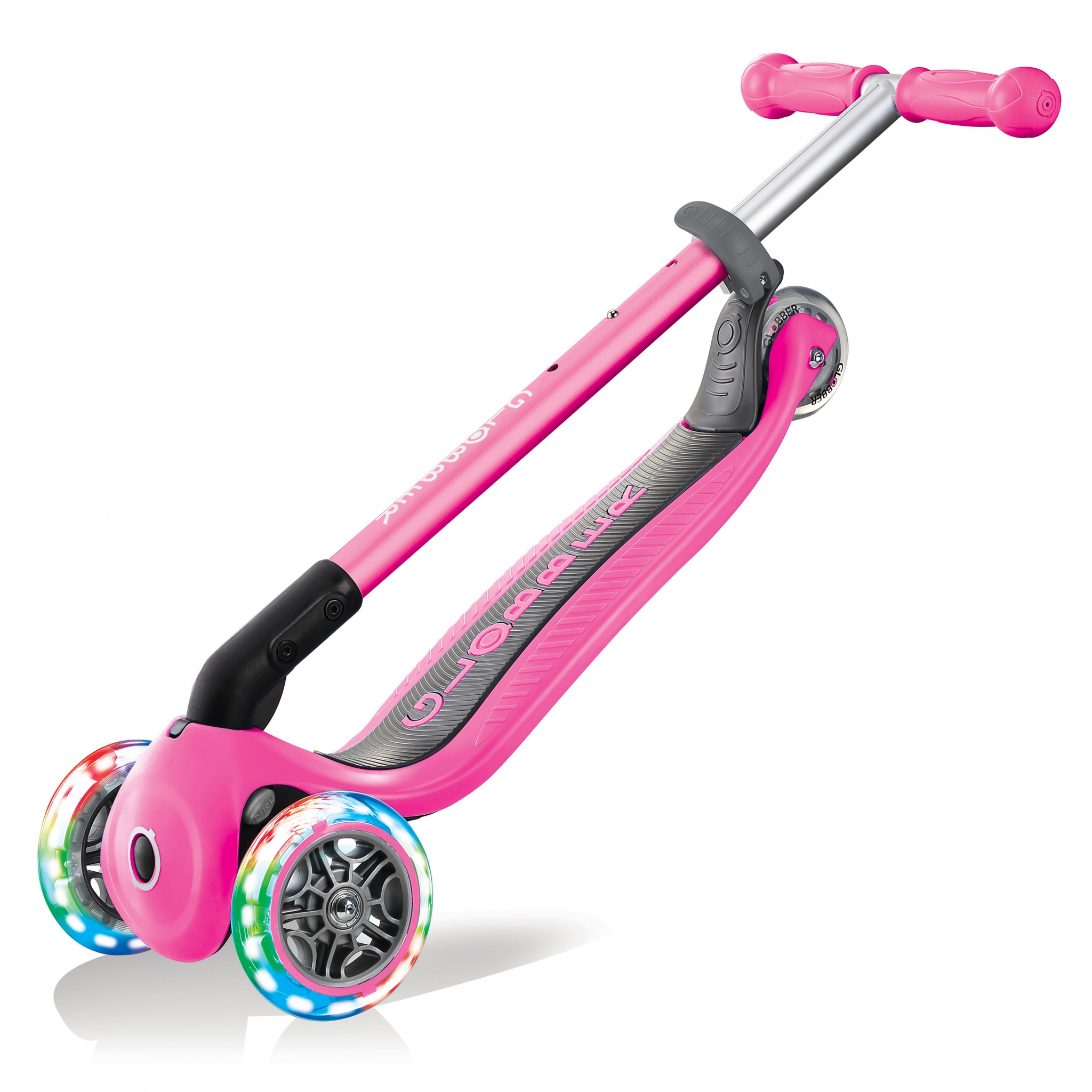 PRIMO-FOLDABLE-LIGHTS-3-wheel-foldable-scooter-for-kids-trolley-mode-neon-pink
