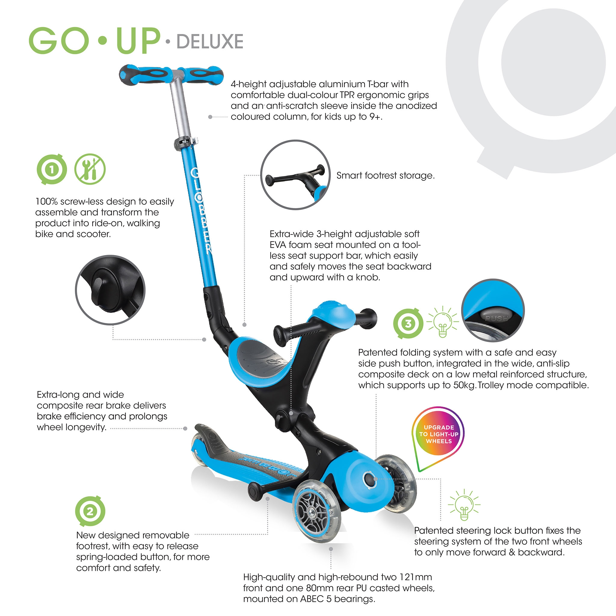foldable light-up scooter with seat for toddlers - Globber GO-UP DELUXE LIGHTS 1