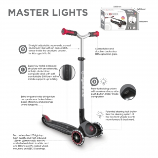 Globber-MASTER-LIGHTS-premium-3-wheel-adjustable-scooter-for-kids-aged-4-to-14 thumbnail 2
