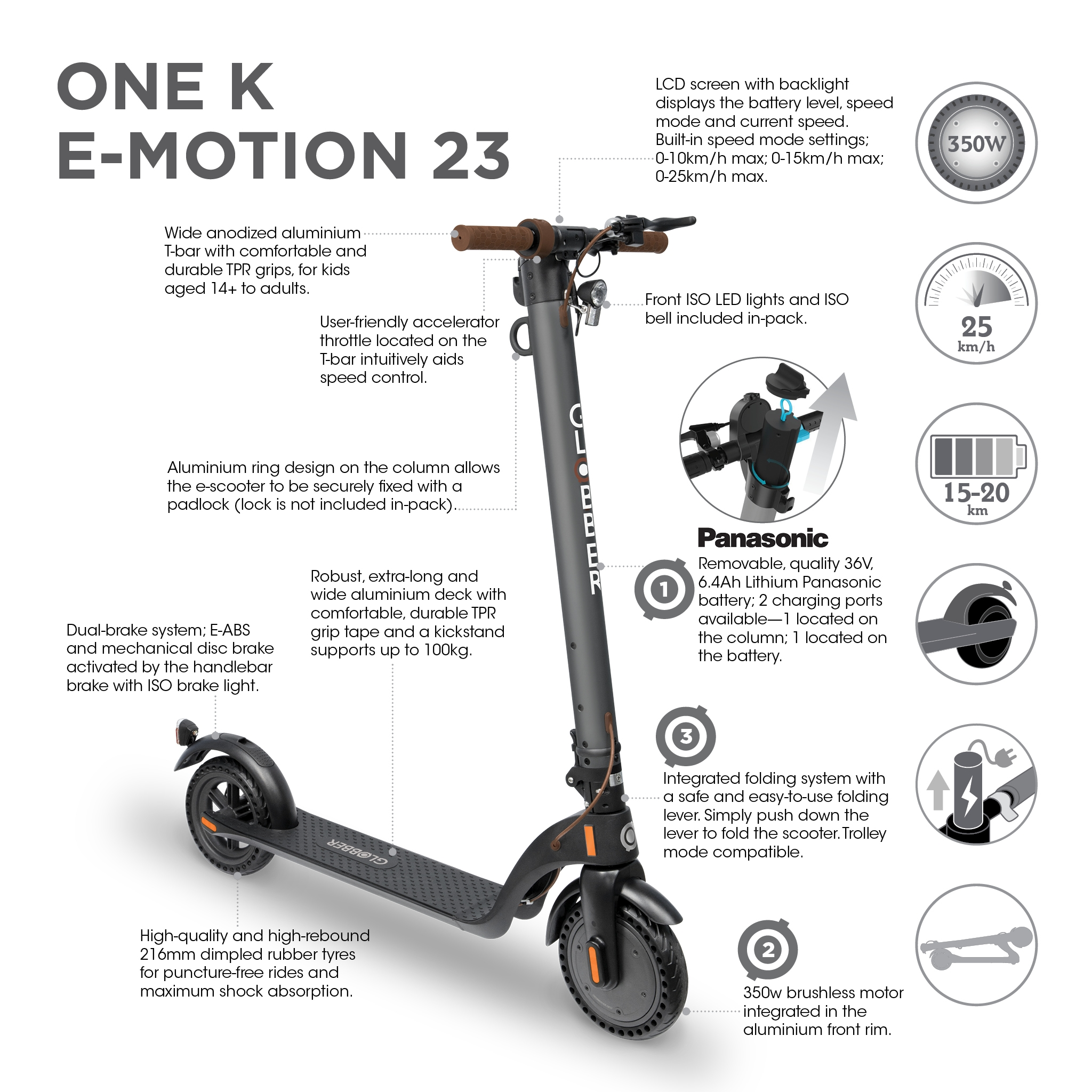 Globber-ONE-K-E-MOTION-23-electric-scooter-for-teens-and-adults-aged-14-and-above 2