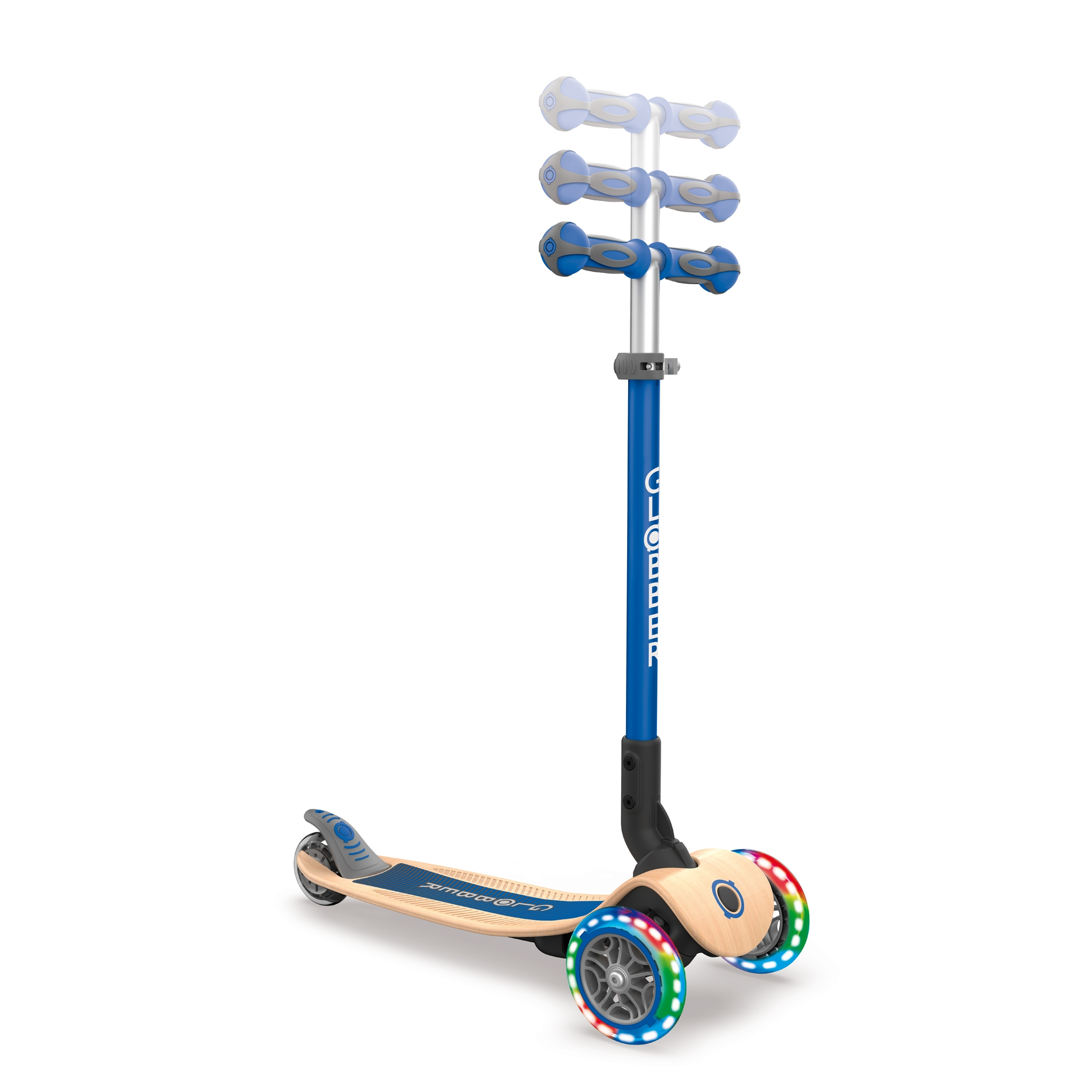 PRIMO-FOLDABLE-WOOD-LIGHTS-3-wheel-foldable-light-up-scooter-with-wooden-scooter-deck-and-3-height-adjustable-T-bar_navy-blue