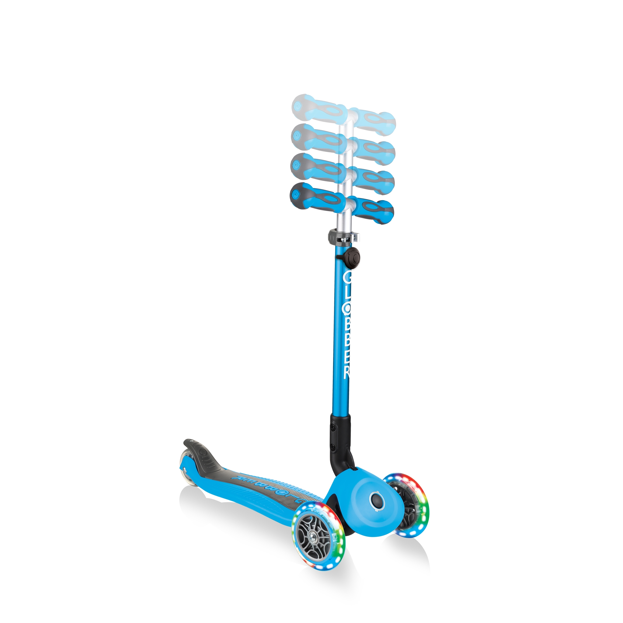 GO-UP-DELUXE-LIGHTS-ride-on-walking-bike-scooter-with-4-height-adjustable-T-bar-and-light-up-wheels-sky-blue