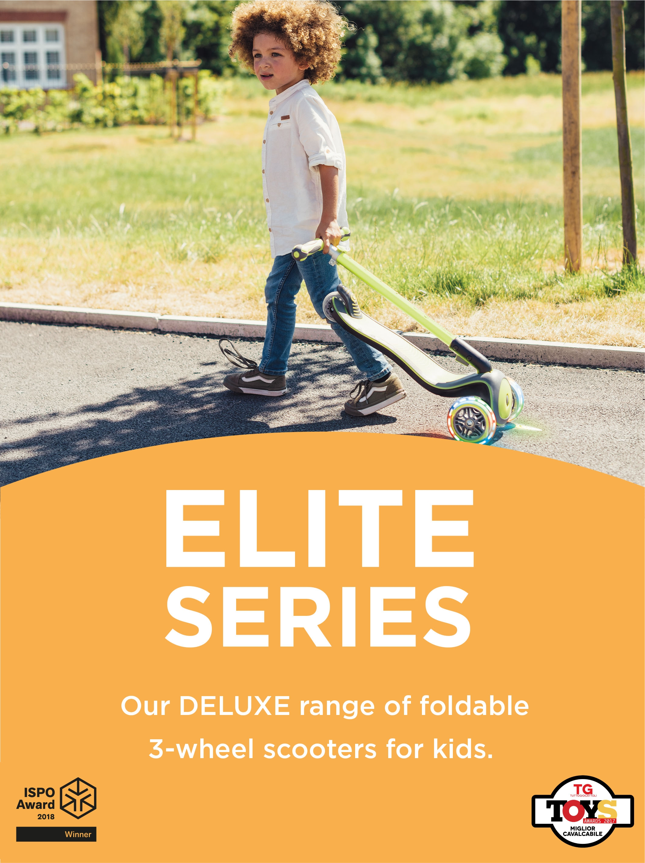 Our DELUXE range of foldable 3-wheel scooters for kids.