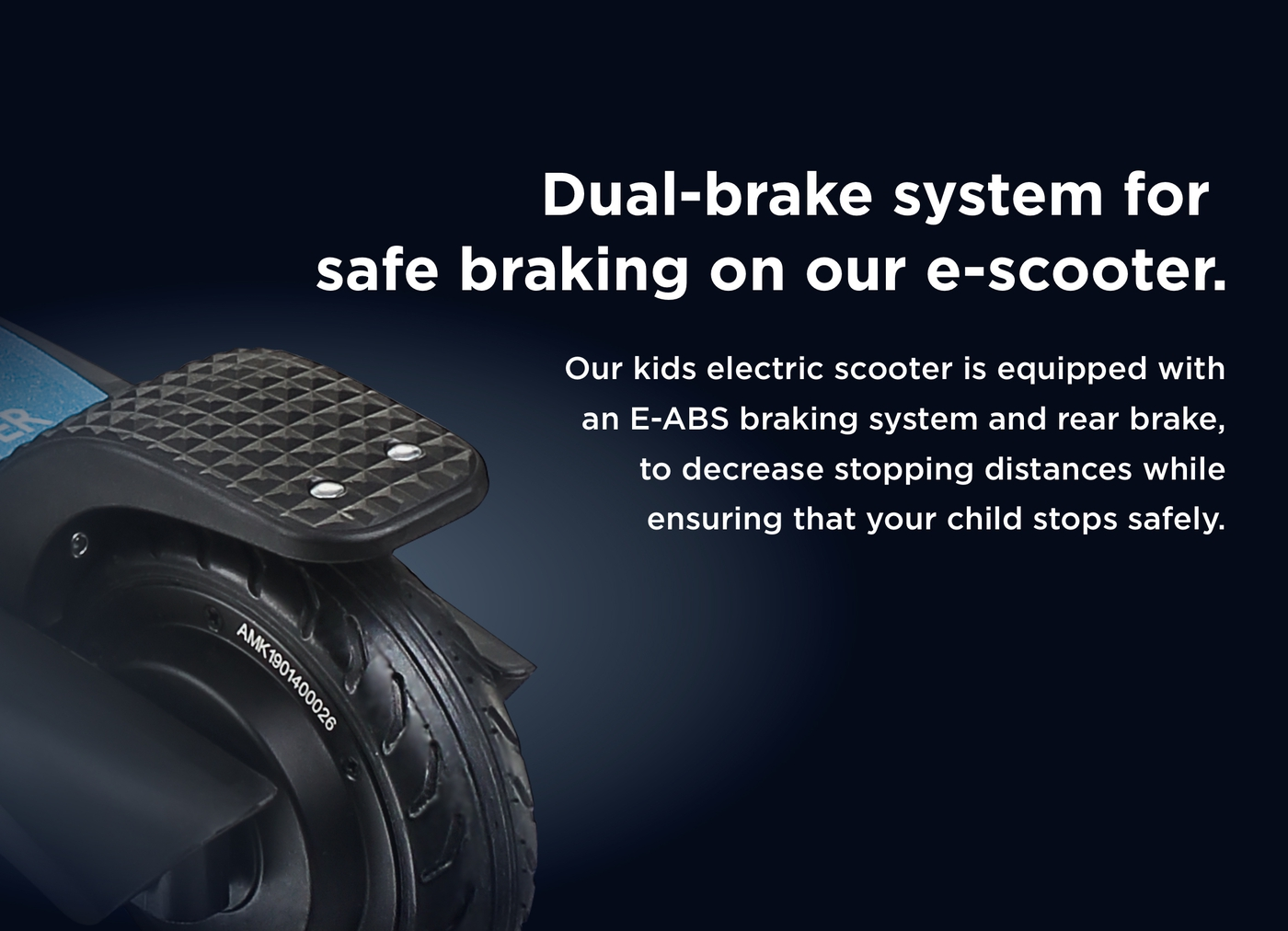Dual-brake system for safe braking on our e-scooter.