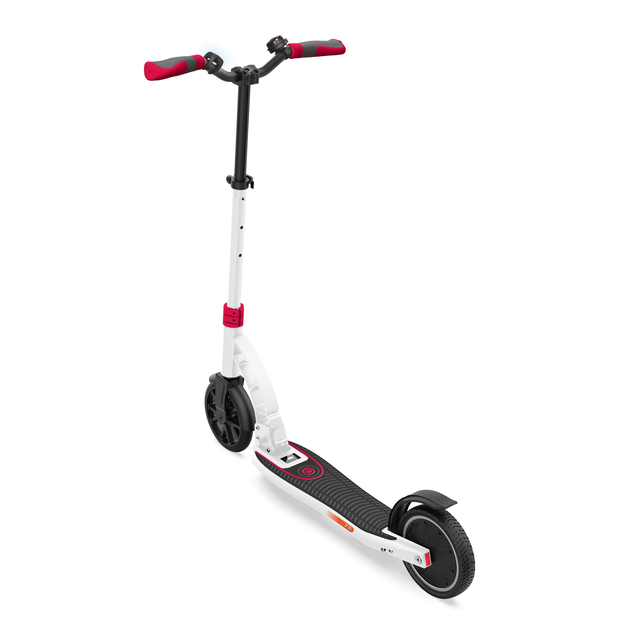Globber-ONE-K-E-MOTION-15-safe-foldable-electric-scooter-for-teens-and-young-adults-with-dual-brake system-white-red