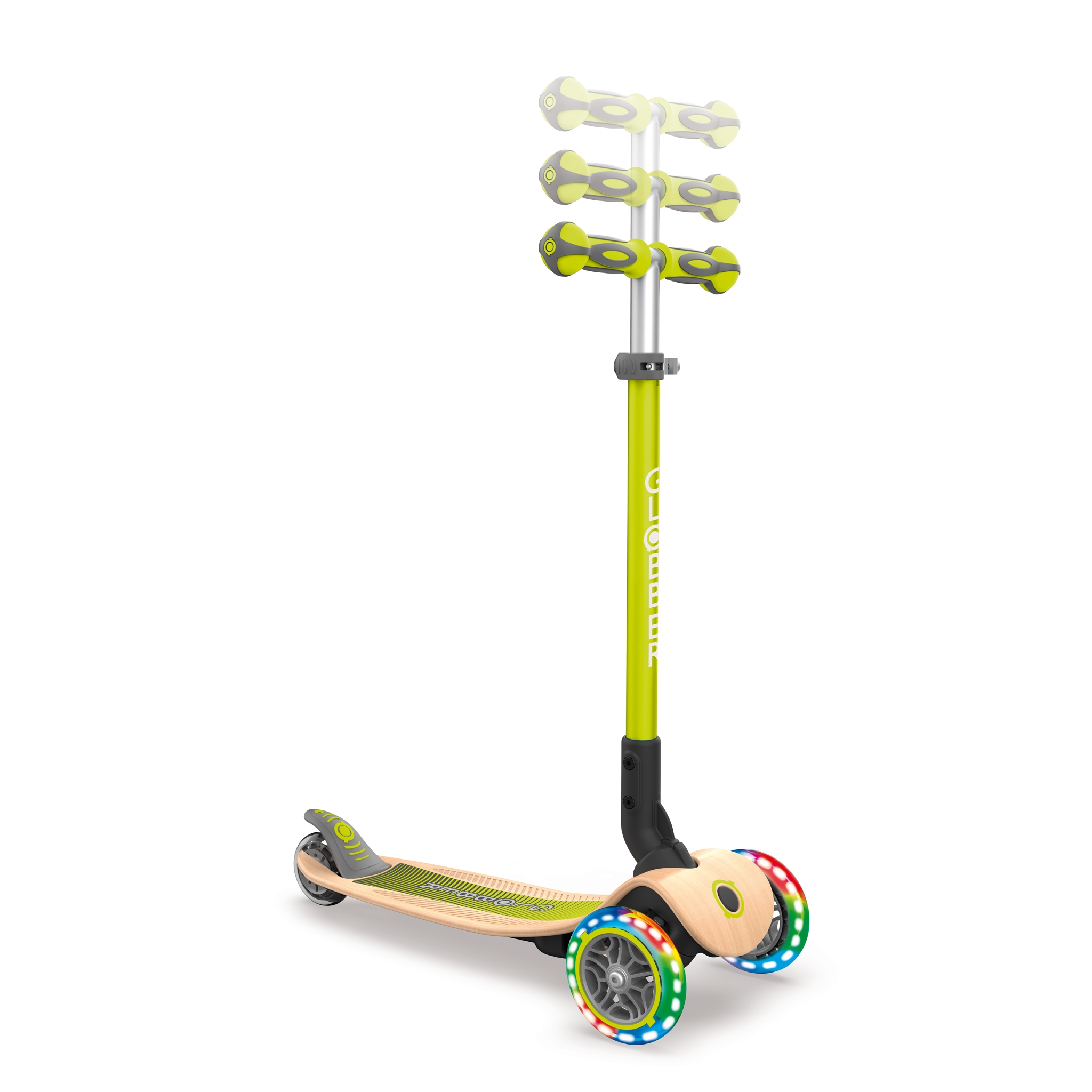 PRIMO-FOLDABLE-WOOD-LIGHTS-3-wheel-foldable-light-up-scooter-with-wooden-scooter-deck-and-3-height-adjustable-T-bar_lime-green