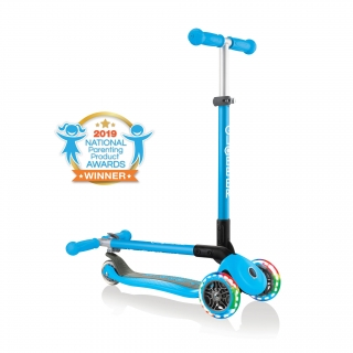 PRIMO-FOLDABLE-LIGHTS-3-wheel-fold-up-scooter-for-kids-sky-blue2 thumbnail 0