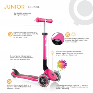 JUNIOR FOLDABLE LIGHTS - 3 Wheel Scooter for Toddlers