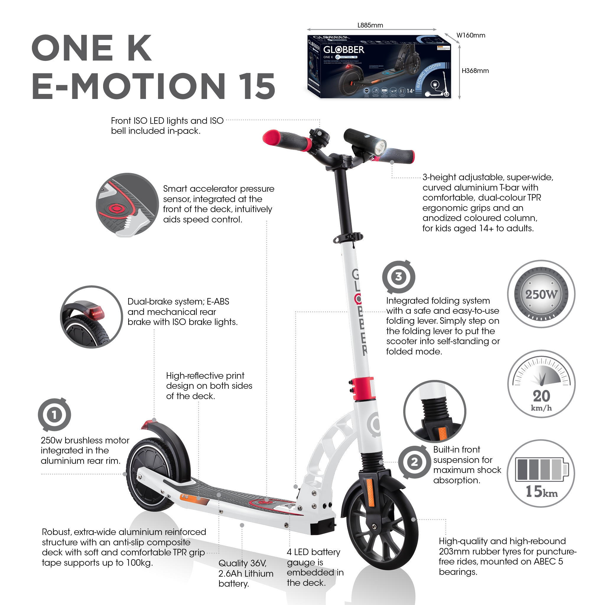 Globber-ONE-K-E-MOTION-15-electric-scooter-with-front-suspension-and-rear-ISO-brake-lights-and-front-ISO-LED-lights
