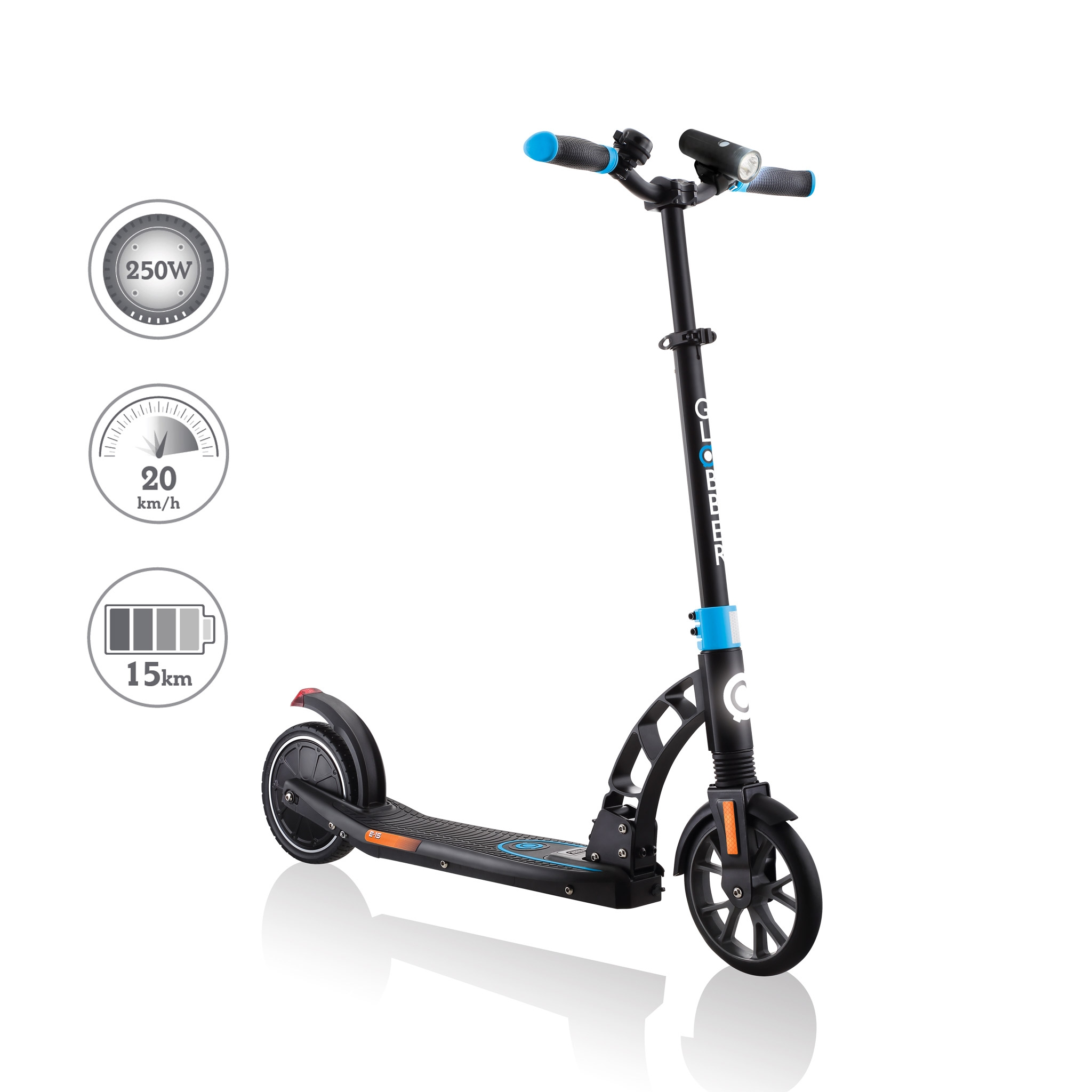 Globber-ONE-K-E-MOTION-15-electric-scooter-with-front-suspension-and-rear-ISO-brake-lights-and-front-ISO-LED-lights 0