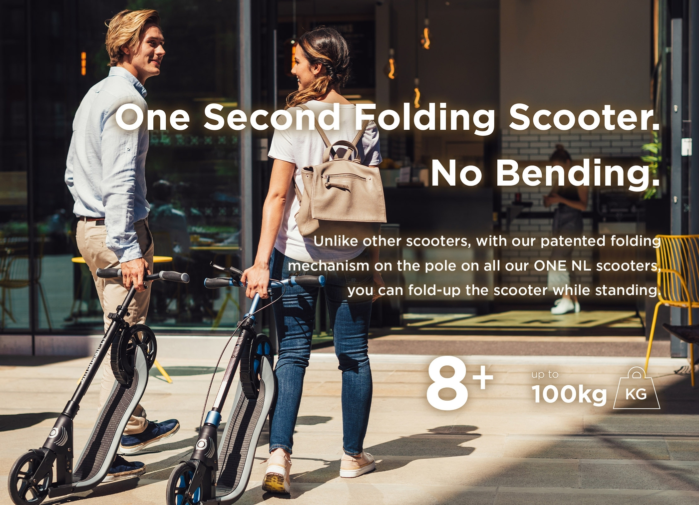 One second folding scooter. No bending required.
