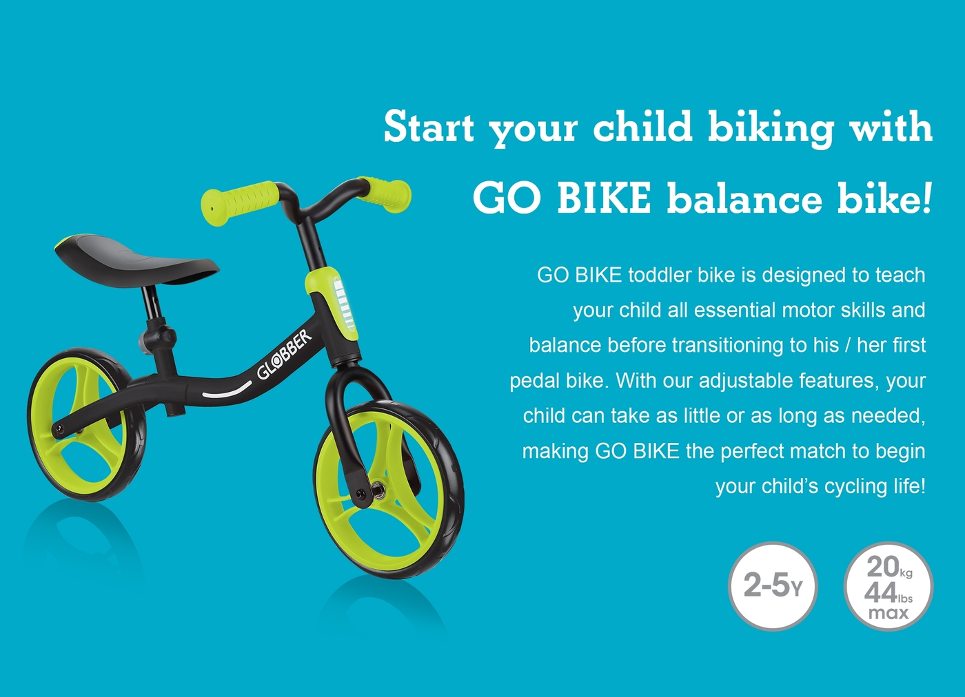 GO BIKE toddler bike teaches your child all essential motor skills