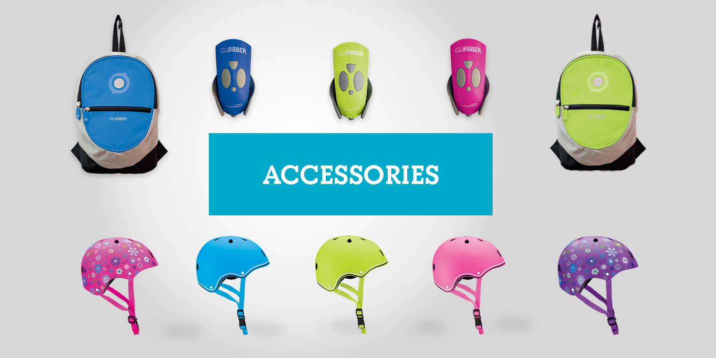 Globber offers a wide range of accessories for 2-wheel scooters, 3-wheel scooters and all riders including kids, teens and adults. Globber's accessories include protective gear (elbow and knee pads), helmets, light-up scooter wheels, scooter bells, headlights, backpacks, scooter friends, and more!