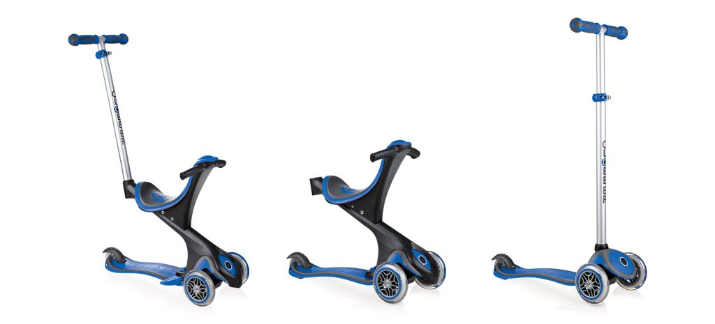 Globber's award-winning scooter, EVO COMFORT, 3-wheel scooter with seat delivers 3 different modes for maximum product usage. EVO COMFORT scooter for toddlers and kids aged from 15m up to 9+ comes with an extra-wide seat and a seat support bar, to deliver the best comfort and safety for your child. Globber's scooter for children also has a removable footrest to avoid shoes touching the ground to avoid your kid dragging his/her feet!