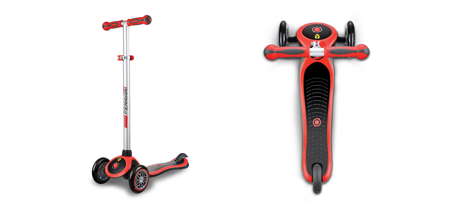 """Globber's PRIMO PLUS FERRARI kids scooter is for all Ferrari lovers! Globber's exclusive designed PRIMO PLUS Ferrari 3-wheel scooters for children is the coolest scooter for kids to play on for hours of fun and usage! PRIMO PLUS FERRARI adjustable scooter is suitable for kids aged 3+ to 9+. """