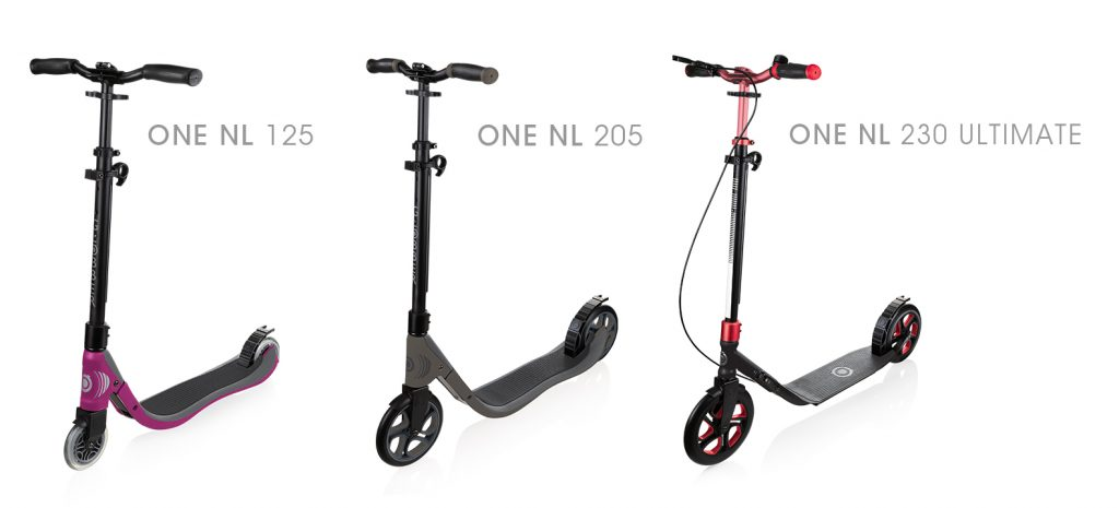 "Globber's ONE NL 2-wheel scooters for kids aged 8+, teens and adults are Globber's foldable scooters with a 1"" patented folding mechanism, to prevent you from bending down to fold-up the scooter. Globber's ONE NL scooters also have scooter with handbrake options, and ONE NL 230 ULTIMATE is Globber's big wheel scooter with 230mm wheels!"