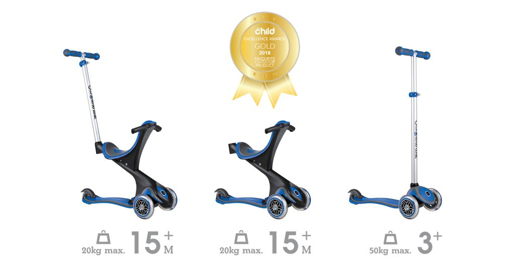 Globber's EVO COMFORT 3-wheel scooter for kids is a scooter with seat, which transforms from ride-on, walking bike and scooter modes. It comes with an extra-wide seat which can be simultaneously adjusted upward and backward in 3 different heights, making this toddler scooter very comfortable for the child's legs. TGlobber's EVO COMFORT scooter for toddlers was voted as the best outdoor product during the Excellence Awards by My Child, a renowned Australian parents' magazine.