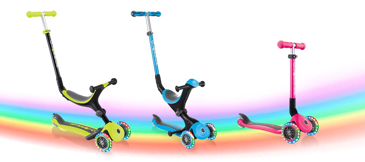 Globber GO UP FOLDABLE PLUS LIGHTS, GO UP DELUXE LIGHTS and JUNIOR FOLDABLE LIGHTS light-up scooters