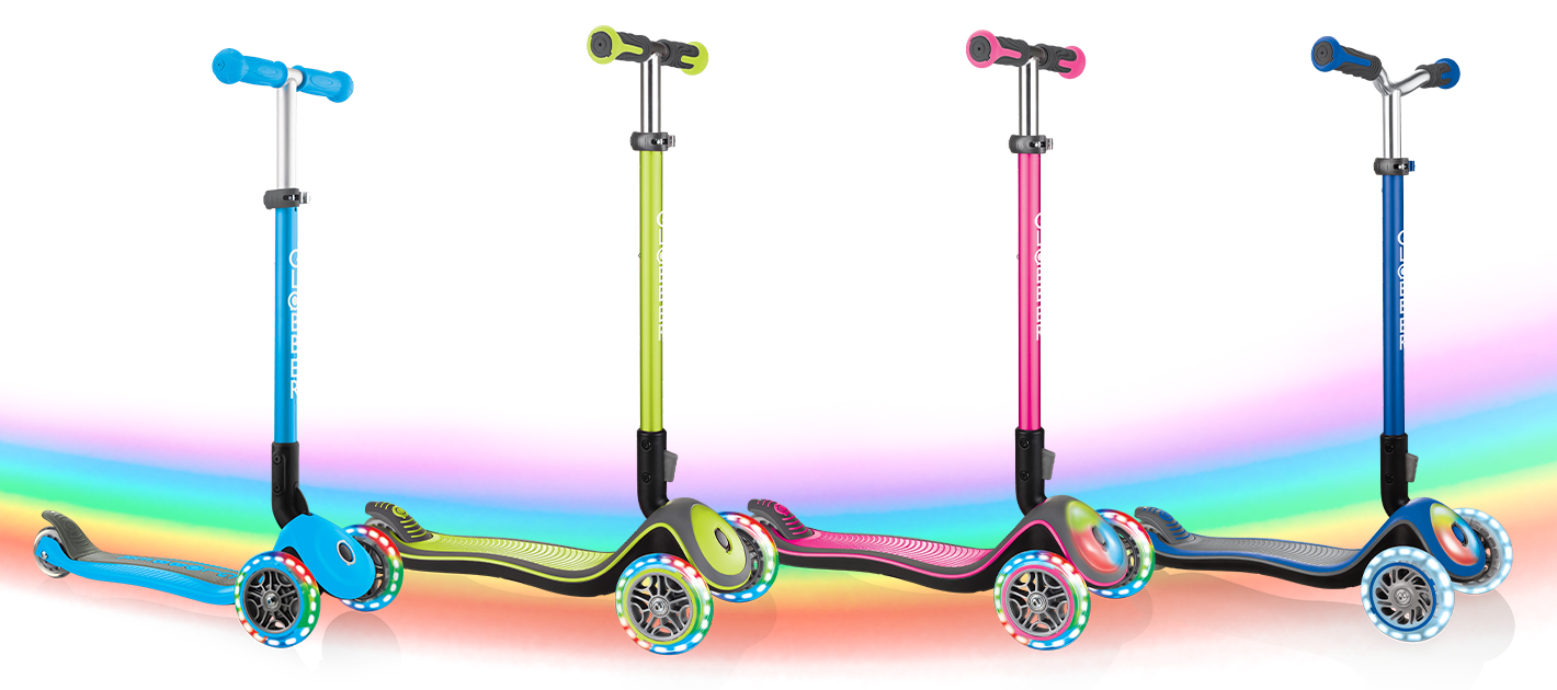 PRIMO FOLDABLE LIGHTS, ELITE DELUXE LIGHTS, ELITE DELUXE FLASH LIGHTS and ELITE PRIME - Globber light-up scooters