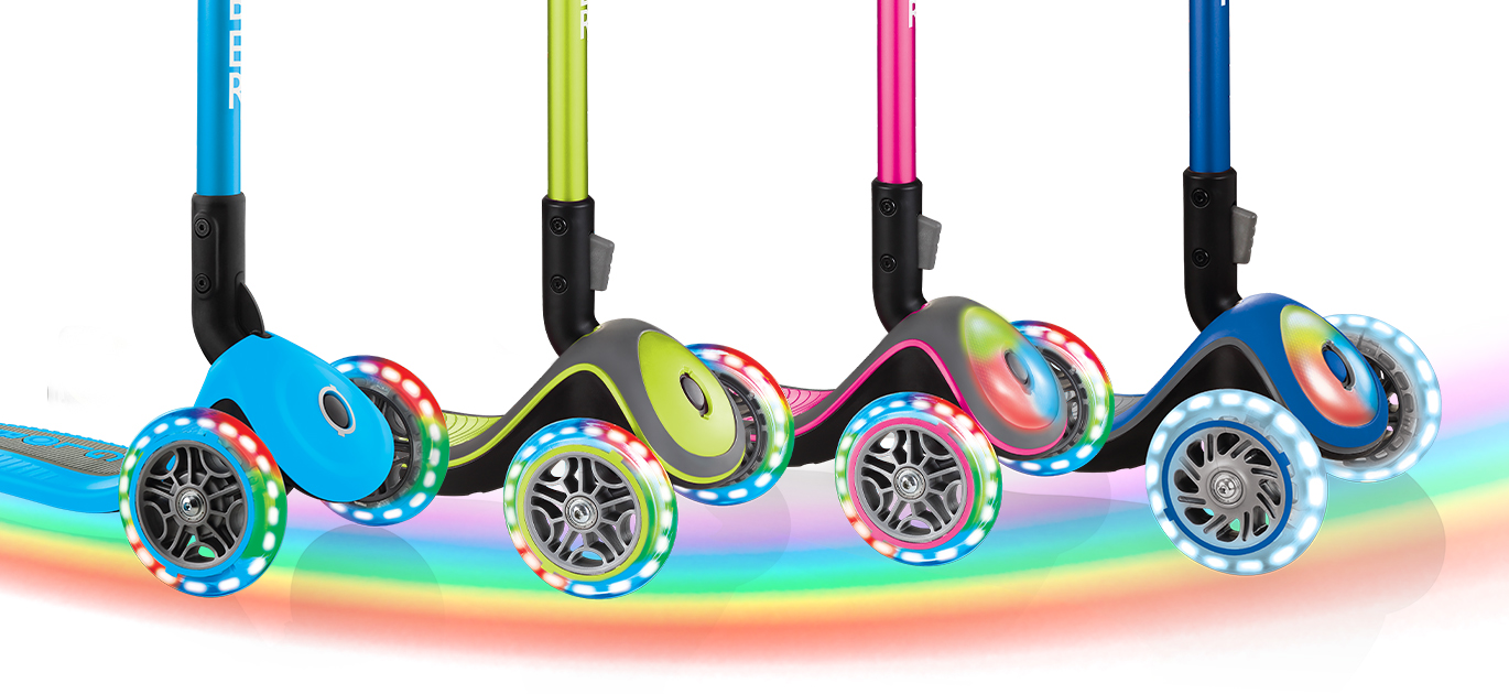 PRIMO FOLDABLE LIGHTS, ELITE DELUXE LIGHTS, ELITE DELUXE FLASH LIGHTS and ELITE PRIME's light-up wheels and vibration sensors