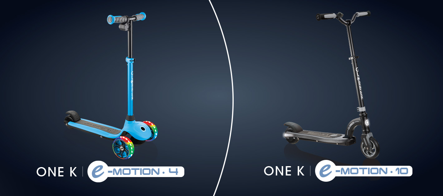 Globber's Best Electric Scooters for Kids - ONE K E-MOTION 4 and ONE K E-MOTION 10