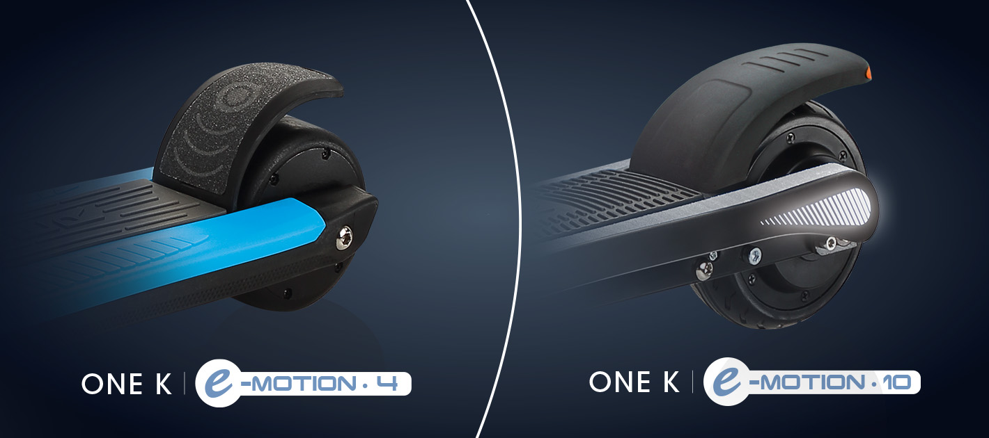 Globber ONE K E-MOTION 4 and ONE K E-MOTION 10 electric scooters for kids dual-braking system