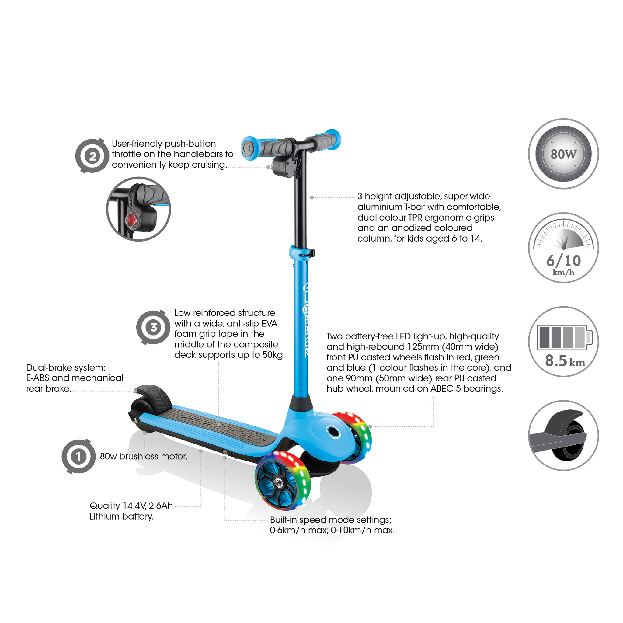 ONE K E-MOTION 4 best 3-wheel electric scooter for kids key features