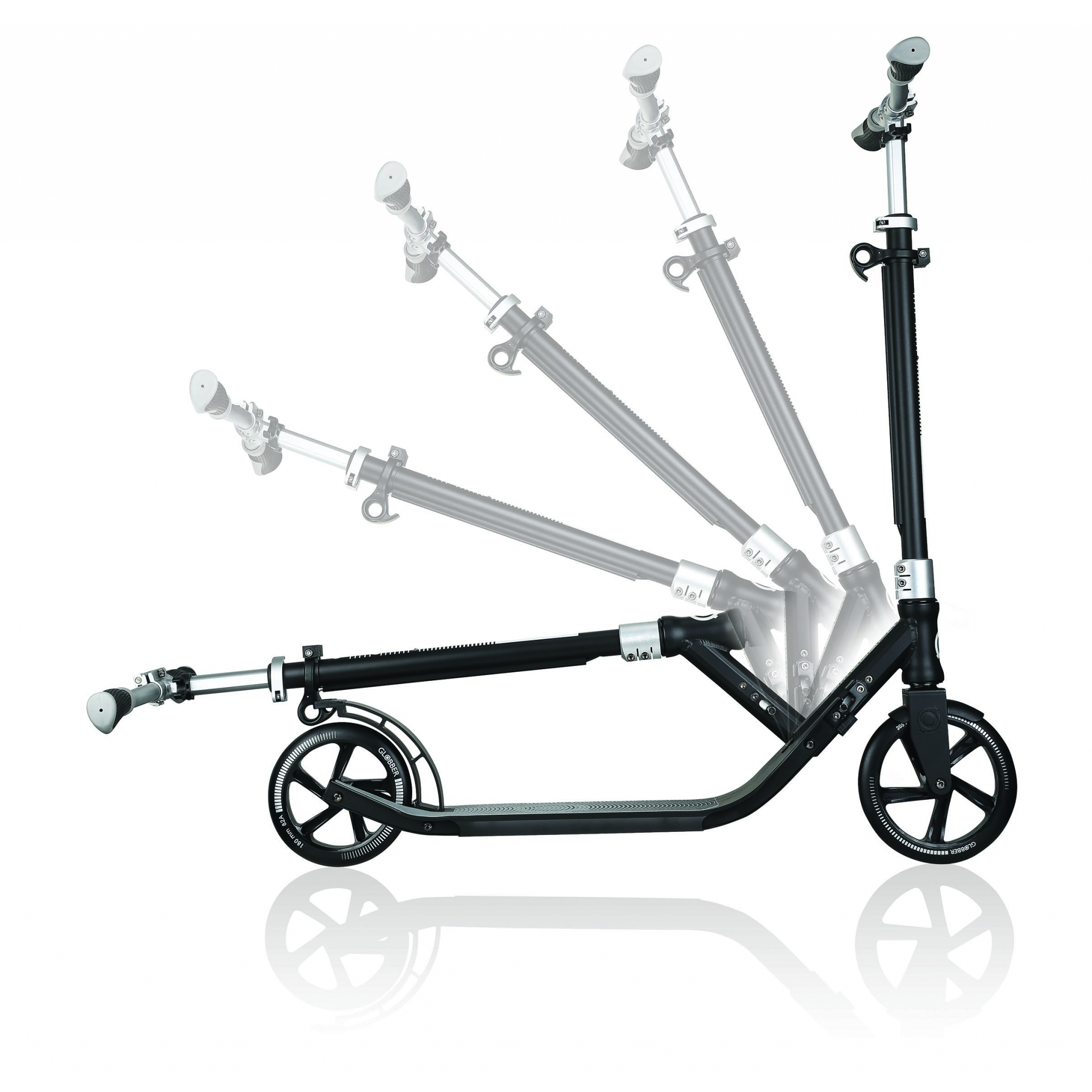 Globber-ONE-NL-205-180-DUO-2-wheel-foldable-scooter-for-adults-1-second-fold-up-scooter-lead-grey