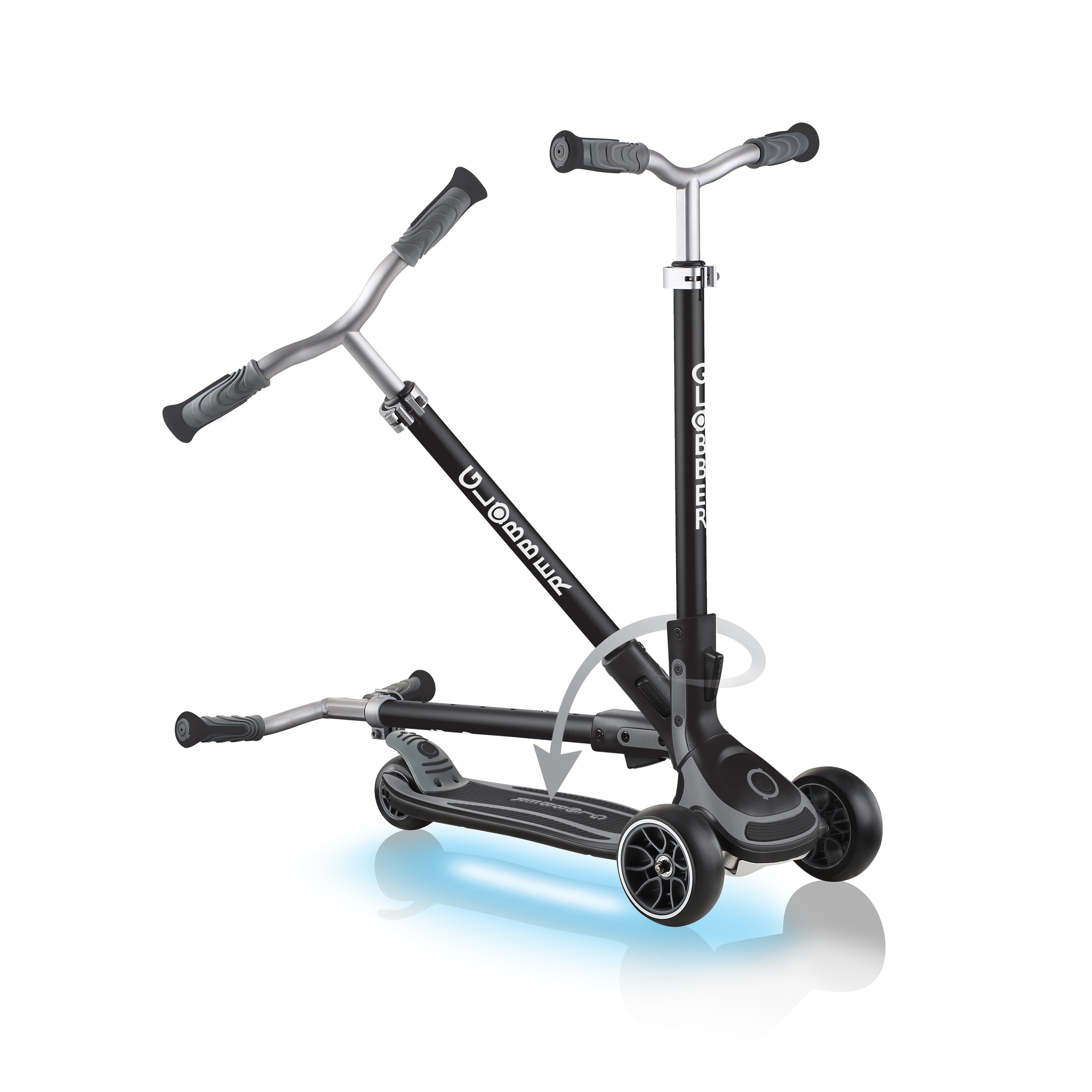 ULTIMUM-LIGHTS-folding-scooter-for-kids-and-teens-black 2