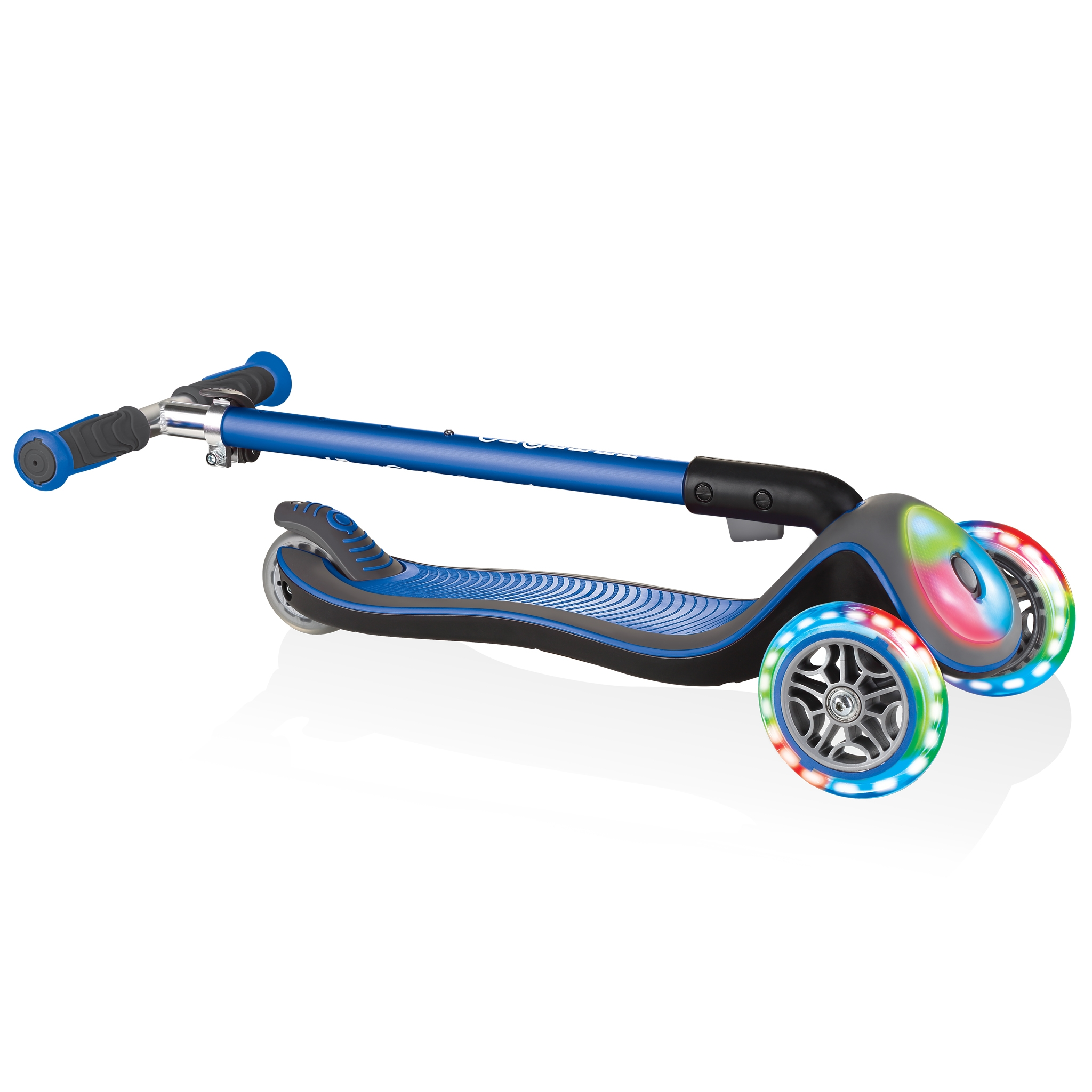 Globber-ELITE-DELUXE-FLASH-LIGHTS-3-wheel-foldable-scooter-for-kids-with-light-up-deck-module-and-wheels-navy-blue