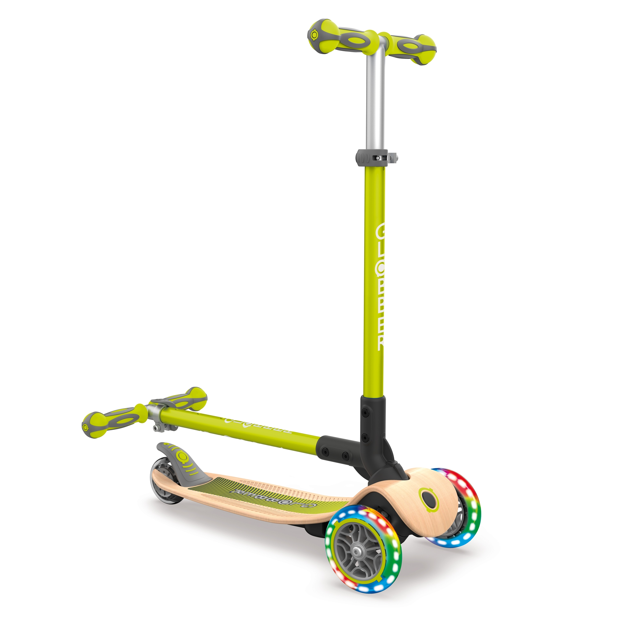 PRIMO-FOLDABLE-WOOD-LIGHTS-3-wheel-foldable-scooter-with-7-ply-wooden-scooter-deck-and-battery-free-light-up-wheels_lime-green