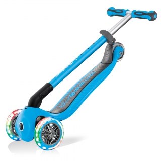 GO-UP-DELUXE-LIGHTS-ride-on-walking-bike-scooter-with-light-up-wheels-trolley-mode-compatible-sky-blue