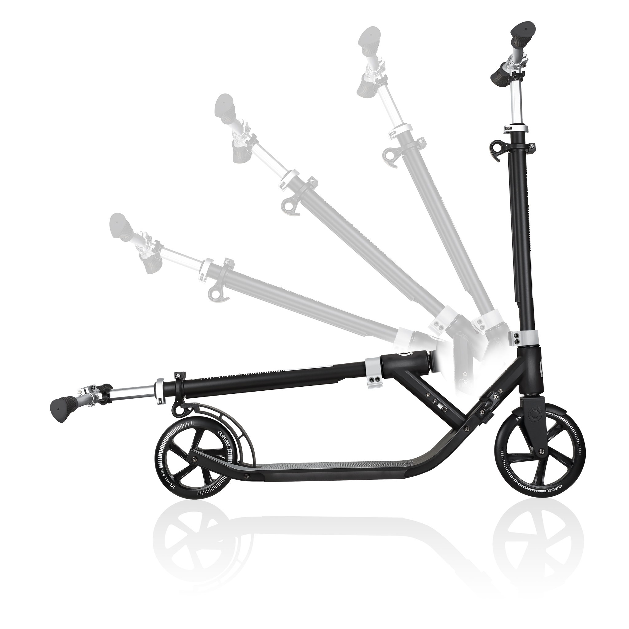 Globber-ONE-NL-205-180-DUO-2-wheel-foldable-scooter-for-adults-1-second-fold-up-scooter-lead-grey 2