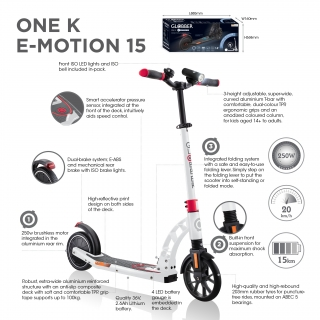 Globber-ONE-K-E-MOTION-15-electric-scooter-with-front-suspension-and-rear-ISO-brake-lights-and-front-ISO-LED-lights thumbnail 2