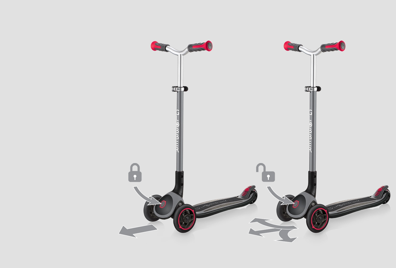 Globber-MASTER-3-wheel-foldable-scooters-with-patented-steering-lock-system